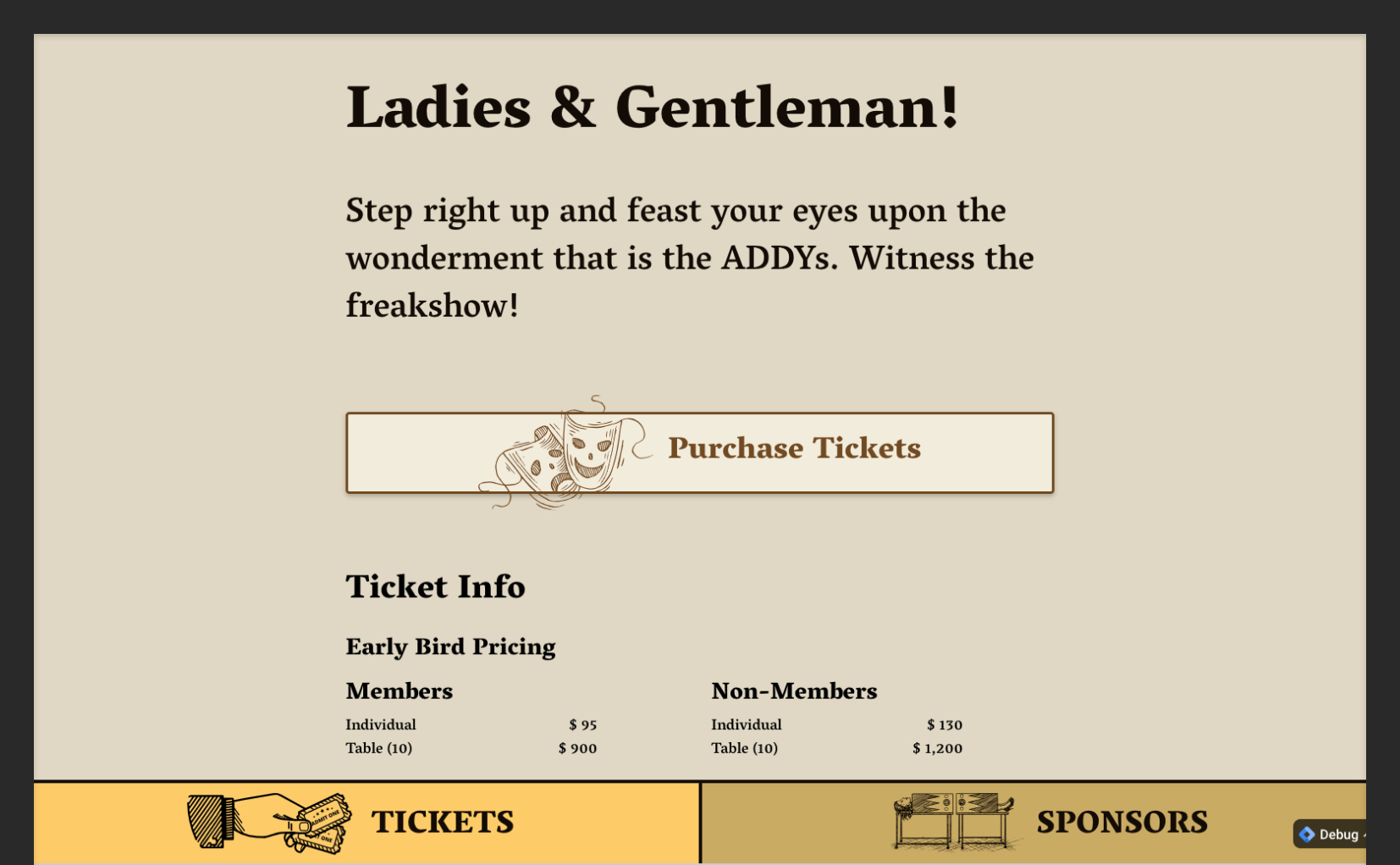ADDYs Tickets Page